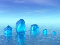 Blue ice. 3D landscape. Ice in ocean Stock Photos