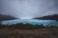 Blue ice of big glacier in Patagonia stock image
