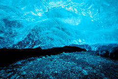 Blue ice cave in Iceland. Blue crystal ice cave under the glacier in Iceland Royalty Free Stock Photos