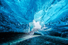Blue ice cave in Iceland. Entrance to the amazing Blue crystal ice cave under the glacier in Iceland Stock Photography