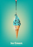 Blue ice cream in the cone, Pour chocolate syrup, peppermint flavor, transparent Vector Royalty Free Stock Images