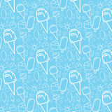 Blue ice cream pattern. Ice cream pattern blue, summer fancy for children Royalty Free Stock Photography