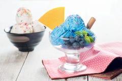 Blue ice cream and vanilla icecream Royalty Free Stock Images