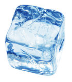 Blue ice cube. A block of blue ice cube isolated on a white background stock images