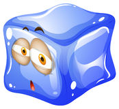 Blue ice cube with face Stock Photo