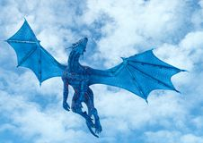 Free Blue Ice Dragon Passing By On Frozen Land Bottom View Royalty Free Stock Image - 167834076