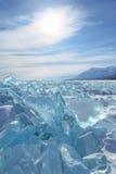 Blue ice field with big blocks stock image