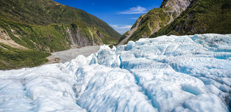 Blue ice of Fox Glacier in South Island of New Zealand panorama Royalty Free Stock Images