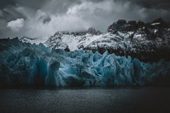 Blue Ice at Grey Glacier. Glaciers and mountainsin Patagonia, Torres del Paine Chile royalty free stock photos