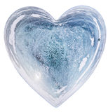 Blue Ice heart with bubbles and cracks isolate Stock Images