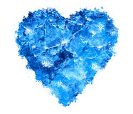 Blue Ice heart. With bubbles and cracks isolate Royalty Free Stock Photo