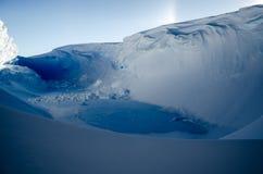 Blue Ice Hidden in Wind-Scoop, Antarctica. Frozen Lake scoured from ice inside wind scoop crevasse. Antarctica Stock Images