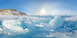 Blue ice hummocks Baikal stereographic panorama, Listvyanka. Blue ice hummocks Baikal stereographic panorama little planet stock photography