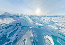 Blue ice hummocks Baikal stereographic panorama, Listvyanka Royalty Free Stock Photo