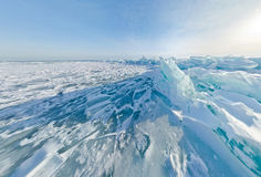 Blue ice hummocks Baikal stereographic panorama, Listvyanka. Blue ice hummocks Baikal stereographic panorama little planet royalty free stock image