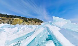 Blue ice hummocks Baikal stereographic panorama. Little planet royalty free stock image
