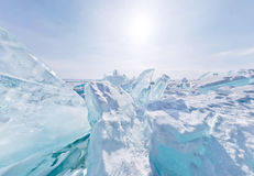 Blue ice hummocks Baikal stereographic panorama. Little planet royalty free stock images