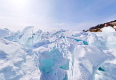 Blue ice hummocks Baikal stereographic panorama. Little planet stock images