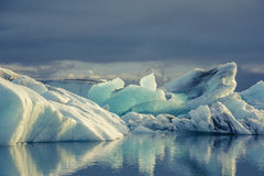 Blue ice at Icelake Jokulsarlon. Iceland royalty free stock photography
