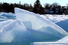 Blue Ice on Lake Huron. This pic was taken on Lake Huron near Mackinaw Bridge 2018 Royalty Free Stock Photos