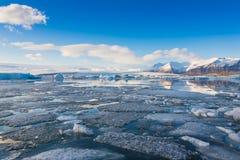 Blue ice lake in the jokulsarlon lagoon in Iceland Stock Photography