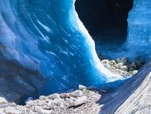 Blue Ice at the Mer de Glace glacier cave, Chamonix, France. Blue Ice at the Mer de Glace glacier cave, Chamonix - Francen Stock Photo