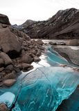 Blue Ice in the Sierra Nevada on a winter day at sunset stock photo