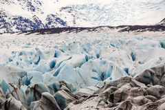 The blue ice of the Skaftafellsjokull glacier  Iceland Royalty Free Stock Photography