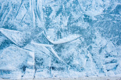 Blue ice in skate scratches background Stock Photo