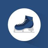 Blue ice skate winter sport icon Royalty Free Stock Photography