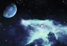 Blue Ice Space. A premade cosmic background for artists or designers to use in their projects Stock Photography