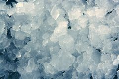 Blue ice texture background stacked pattern. Frozen water Royalty Free Stock Photos