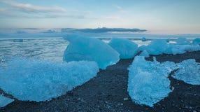 Blue icebergs on the beach Stock Photography