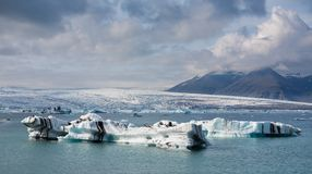 Blue Icebergs Floating Stock Image