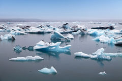Blue icebergs floating in Jokulsarlon glacial lagook, Iceland Royalty Free Stock Photos