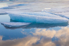 Blue icebergs floating in Jokulsarlon lagoon Stock Image
