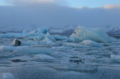 Blue icebergs floating in the jokulsarlon lagoon in Iceland. Stock Image