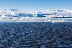 Blue icebergs floating in the Jokulsarlon lagoon Royalty Free Stock Photo