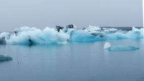 Blue Icebergs in the Glacier Lagoon, Jokulsarlon, Iceland Stock Photo