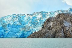 Blue icebergs at Grey Glacier in Torres del Paine Stock Photos