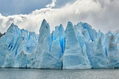 Blue icebergs at Grey Glacier in Torres del Paine Royalty Free Stock Photo