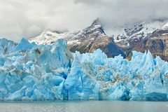 Blue icebergs at Grey Glacier in Torres del Paine Royalty Free Stock Photos