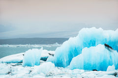 Blue icebergs in Jokulsarlon glacial lagoon. Royalty Free Stock Photography