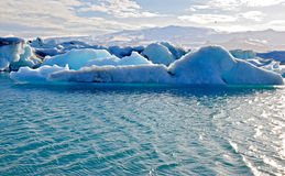 Blue icelandic icebergs in Jokulsarlon Royalty Free Stock Photo