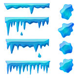 Blue icicles and frozen puddles. Vector set of isolated blue icicles and frozen puddles Stock Photos