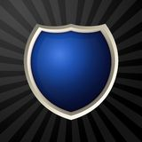 Blue icon. With metal border over ray background royalty free illustration