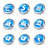 Blue icon banking set. Set of blue icons relating to finances and banking Stock Photos