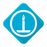 Blue icon birthday candle with long shadow. Vector icon Stock Images