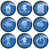 Blue Icon Buttons. Set of nine icon buttons depicting various commands. Circular buttons are blue with white images with black edging vector illustration