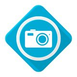 Blue icon camera with long shadow Stock Images